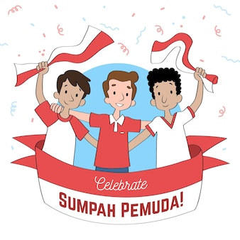 Hand drawn sumpah pemuda