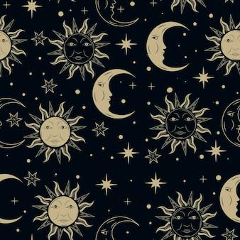 手描きの太陽と月のパターン