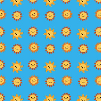 손으로 그린 된 태양 컬렉션 패턴