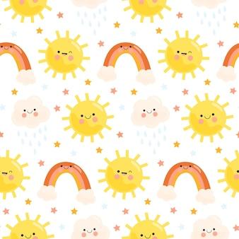 手描きの太陽のパターンと雲