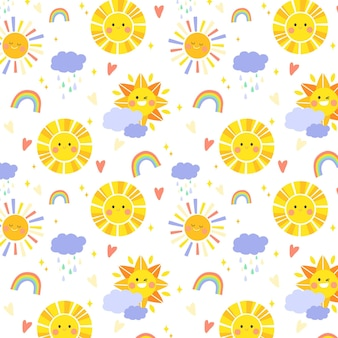 Hand drawn sun pattern with clouds and rainbows