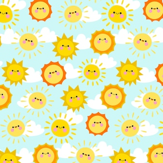 Hand drawn sun pattern with clouds
