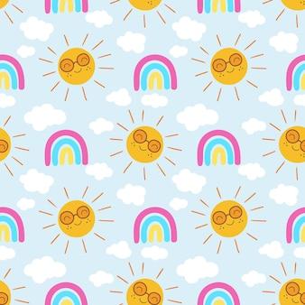 무지개와 함께 손으로 그려진 된 태양 패턴