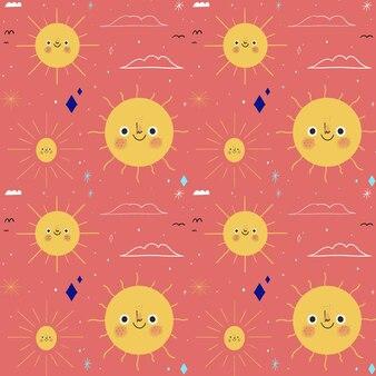 手描きの太陽のパターン