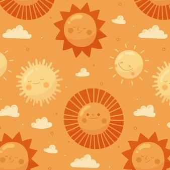 손으로 그린 된 태양 패턴