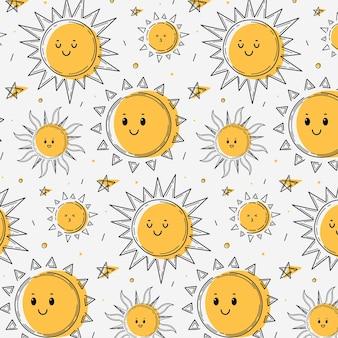 Hand drawn sun pattern