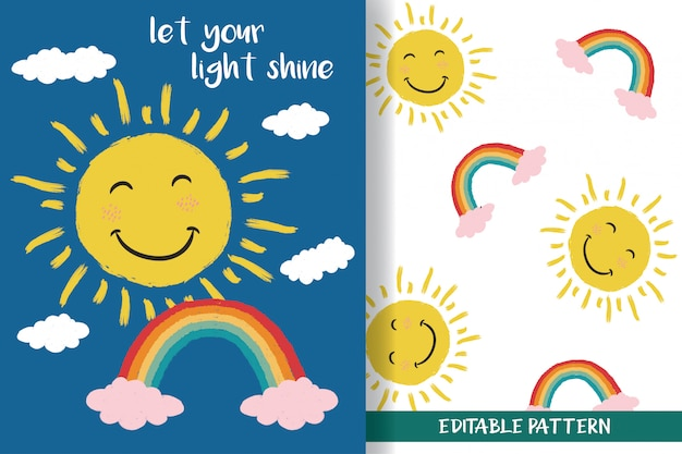 Hand-drawn sun and rainbow with editable patterns