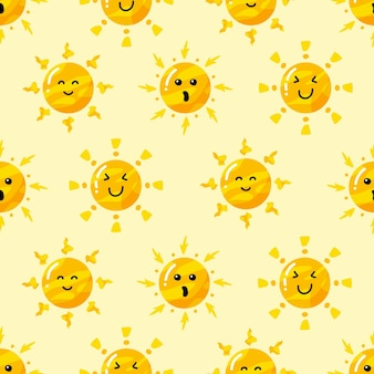 Hand drawn sun in various style pattern