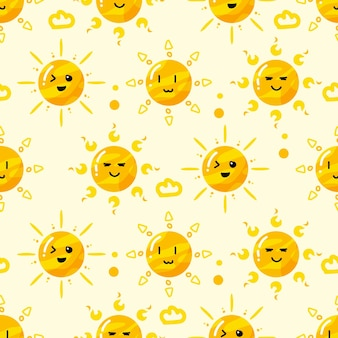 Hand drawn sun in various style pattern Premium Vector