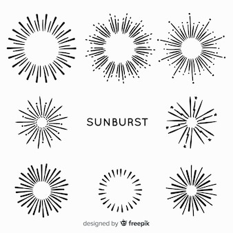 Hand drawn sunburst element collection