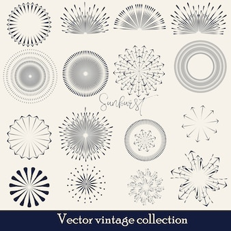 Hand drawn sunburst, vintage radial burst, abstract line sunshine vector collection
