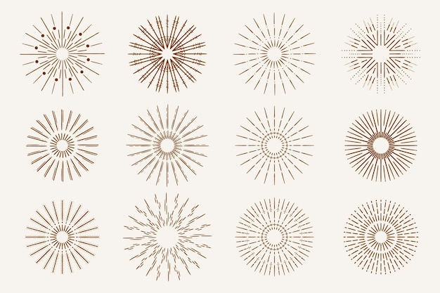 Hand drawn sunbursts collection Free Vector