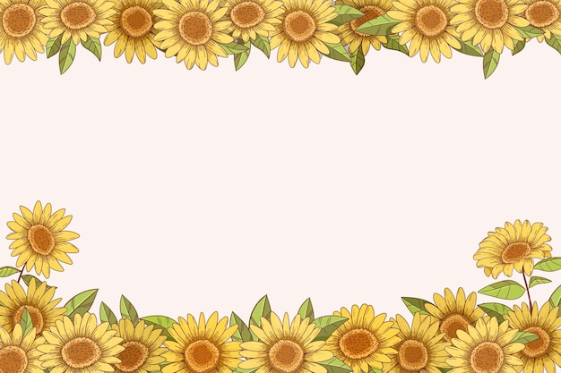 Hand drawn sunflower border with copy space