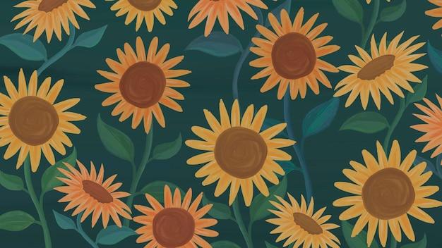 손으로 그린 해바라기 꽃 무늬 배경