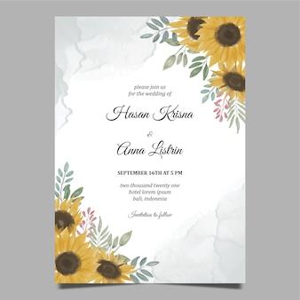 Hand drawn sunflower wedding invitation template