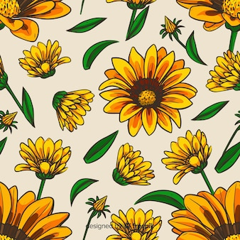 Hand drawn sunflowers background