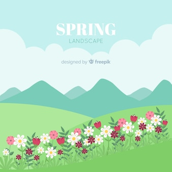 Hand drawn sunny field spring background