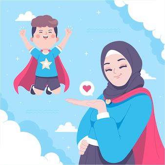 Hand drawn super mom illustration background