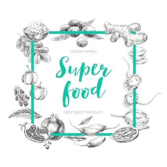 Hand drawn superfood illustration.