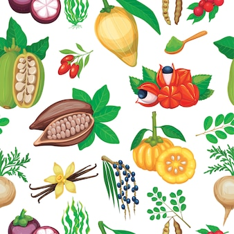 Hand drawn superfood seamless pattern.