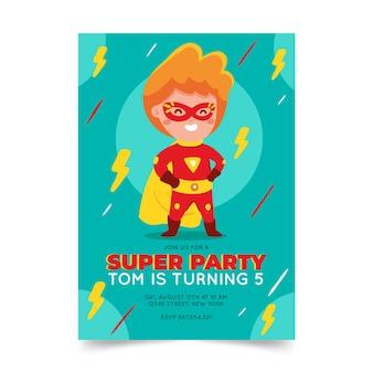 Hand drawn superhero birthday invitation template
