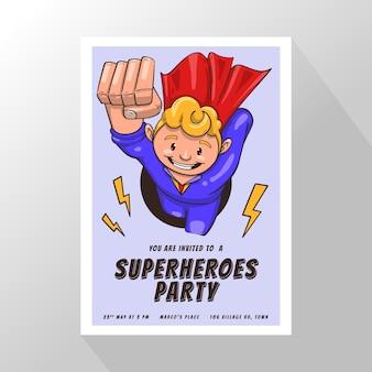 Шаблон приглашения на день рождения супергероя