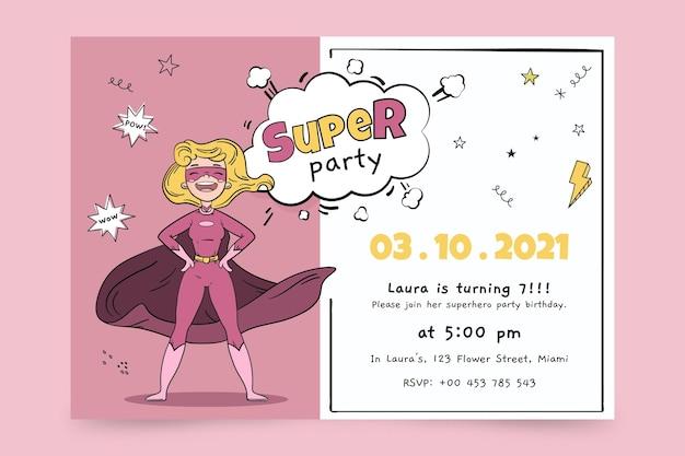 手描きのスーパーヒーローの誕生日の招待状のテンプレート