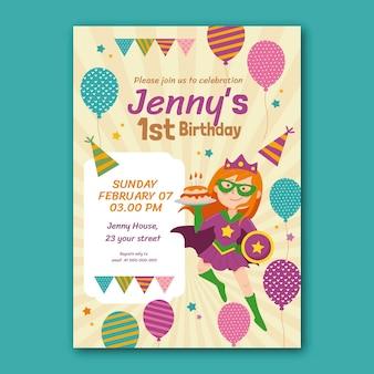 Modello di invito compleanno supereroe disegnato a mano
