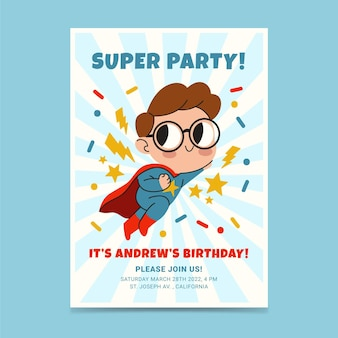 Hand drawn superhero birthday invitation