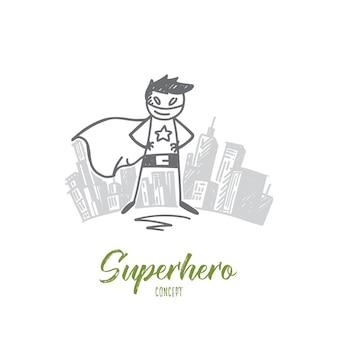 手描きのスーパーヒーローのコンセプトスケッチ