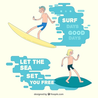 Hand drawn surfers with phrases