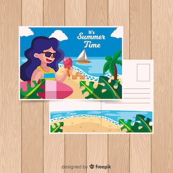 Hand drawn surfing girl summer postcard