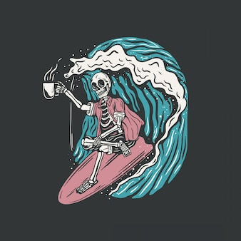 Hand drawn, surfing skull vector