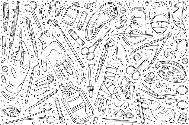 Hand drawn surgery set doodle  background