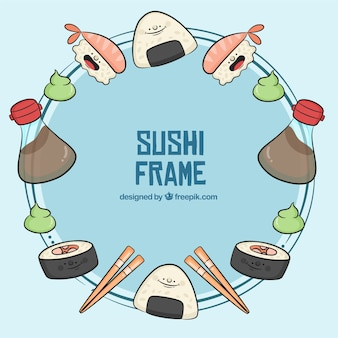 Hand drawn sushi frame