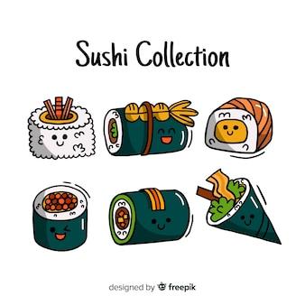 Hand drawn sushi kawaii pack