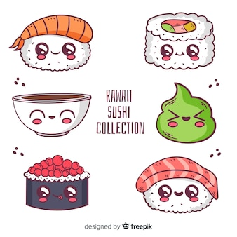 Hand drawn sushi kawaii pack