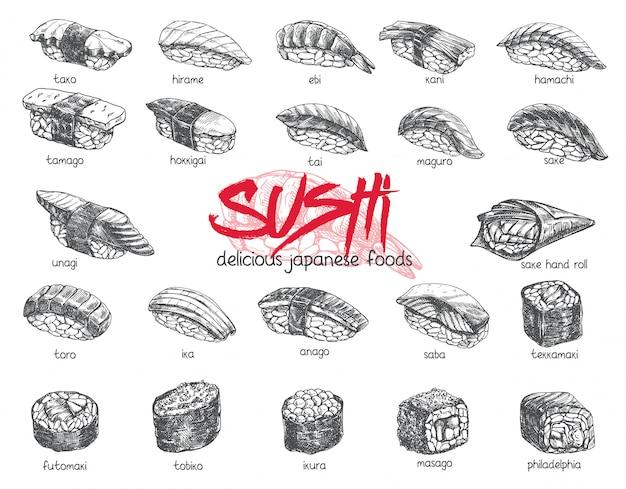 Набор рисованной суши. иллюстрация эскиза японской еды для меню суши-роллов, баннера, флаера, открытки и т. д.