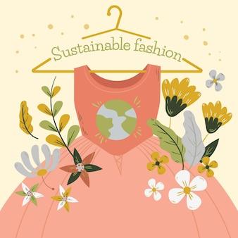 Concetto di moda sostenibile disegnato a mano illustrato