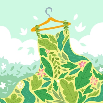 Concetto di moda sostenibile disegnata a mano