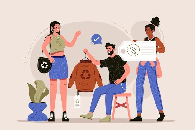 手描きの持続可能なファッションの概念