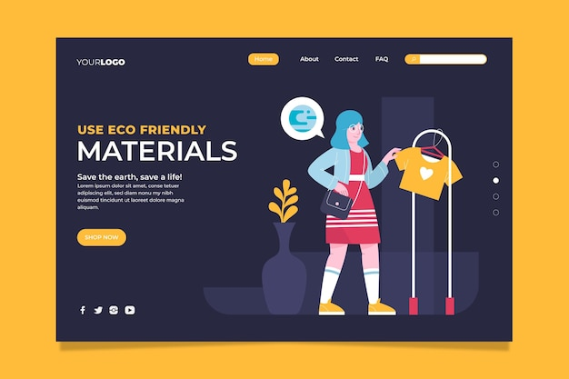 Hand drawn sustainable fashion landing page template