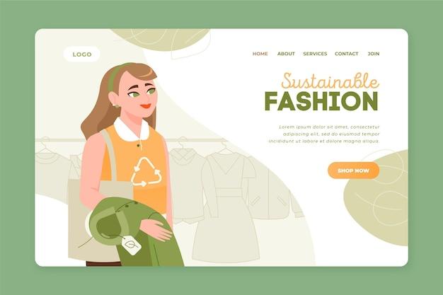 Нарисованная вручную целевая страница устойчивой моды