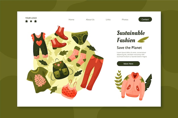手描きの持続可能なファッションのランディングページ