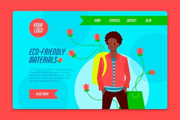 Pagina di destinazione della moda sostenibile disegnata a mano