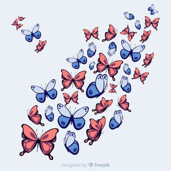 Hand drawn swarm butterfly background