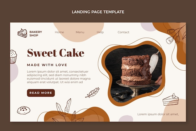 Целевая страница рисованной сладкого торта