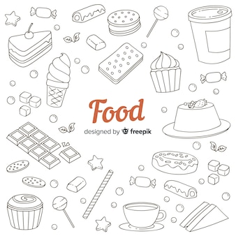 Hand drawn sweet doodle food background