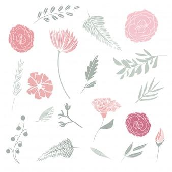 Нарисованные вручную цветочные элементы