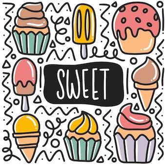 Рисованной сладкой еды каракули набор иконок и элементов дизайна